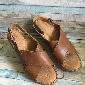 Born Brown Leather Wedge